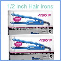 "Free shipping 110V 1/2"" PRO Nano Titanium Hair Iron High Quality & Brand New Hair Straightener (2pcs/lot)"
