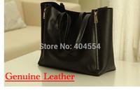 Hot Item 2014 EUROPE New Fashion Genuine Leather Women Simple Classical Black Shoulder Bag Handbag Handbag