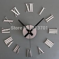 New 2014 Unique Gift Metallic-feeling 3D DIY Funny Wall Clock Modern Design Roman Numeral Wall Clocks Stickers Home Decoration