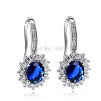 GNE0949 Free shipping wholesale  925 sterling silver shiny CZ flower earrings 20.8*9.4mm for women beauty jewelry