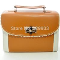 Free Shipping (Brown  )  fashion  Contrast Colour   Candy  handbag  lades's messenger bag
