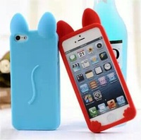 Hot Selling Cute Fashion KOKO Cat Ear Cartoon Silicone Back Cover Case For Apple Iphone 5C Mobile Phone Cases Free Shipping