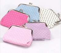 2014 New Fashion Dot Printed Women Coin Purses/Brand Cheap Mini Coin Bags For Women/Cute Women Bags
