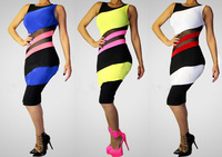 3 Colors 2014 Brand New Arrival Fashion Sexy Bodycon Dress Evening Party Clubwear Bandage Dresses Colorful Patchwork SML