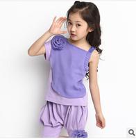 2014 new summer wear Korean virgin suit baby sling quality flower children's sport suit