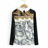 summer retro style novelty ladylike peter pan collar floral printed long sleeve button chiffon women shirt blouse