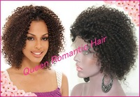 Stock Short Kinky Curly Middle part virgin human hair lace front wig/ full lace wig(glueless) natural hairline for black women