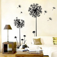 1PCS Free Shipping 70*50cm Creative Decor Dandelion Flower Removable Bed Room Art Mural Wall Sticker Decal Home Decor 671347