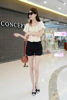 2014 free shipping hot selling fashion casual cute sweet high waist lace jacquard belt white black women shorts