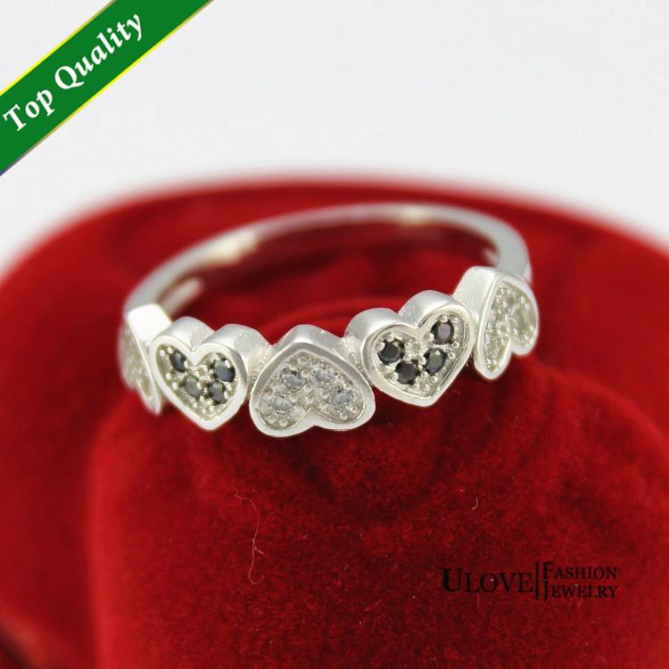Plata 925 prata de circonio cúbico de la boda del corazón bague ...