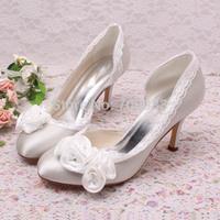 Custom Handmade Flower Rhinestone Wedding Shoes Satin for women 8 cm heel Free Shipping