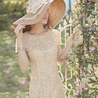 2014 New Fashion Women's ladies slim hip handmade beading lace cutout short-sleeve evening one-piece dress Free Shipping PD0129