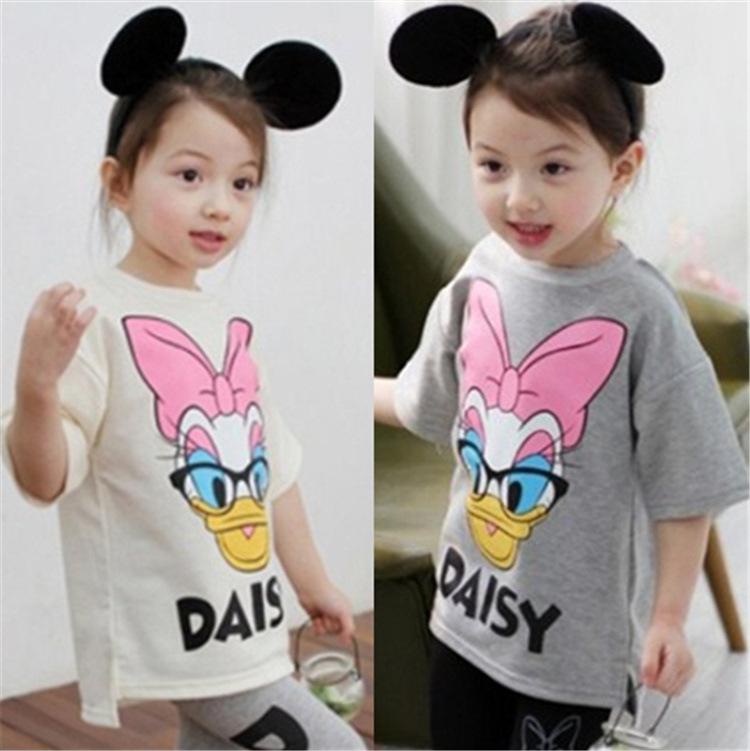 2014 Summer Short-sleeved T-shirt Korean Girls Daisy And Donald Duck T-shirt Children's Clothing Wholesale Trade Brand(China (Mainland))