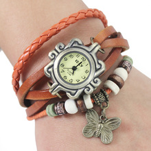 2014 New Popular Women's Woman Lady Girls Leather Vintage Style Butterfly Pendant Jewelry Bracelet Gifts Quartz Wrist Watches