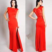 New European Large Size Sexy Lace Dress Slit Dresses Puls Size Nightclub Long Dress Free Shipping
