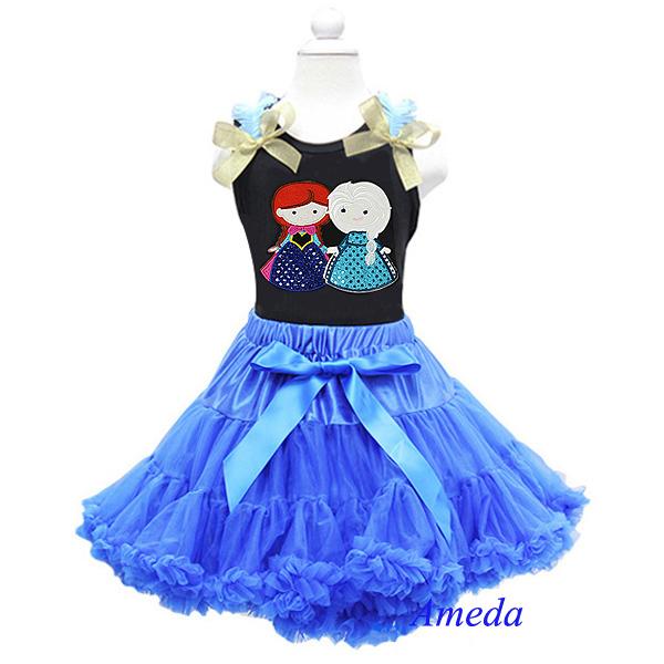 Girls Blue Pettiskirt Tutu Embroidered Anna Elsa Black Tee Party Dress Costume 1-7Y(Hong Kong)