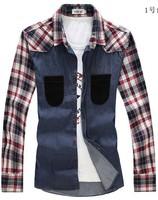Plus-size Shirts 2014 Men Clothing Fashion Trend Casual Grid Long sleeves Pocket decoration Free shipping
