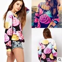 Korean style Women Long t-shirt 3d sweatshirts Ice cream CUPCAKE Hoodies Pullovers Funny Printing sweatshirts
