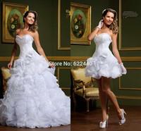 2014 New Fashion Sweetheart Organza Pleat With Detachable Train Wedding Dress Free Shipping