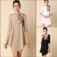 2014 New Summer Women's Brief European Style Asymmetrical Plaid Dress China Branded Dress LCW1401