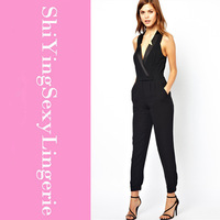 Appealing New 2014 Summer Cut Out Back Surplice Neckline Smart Suit Style Sleeveless Jumpsuit for Women LC6230 Free Shipping