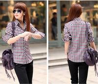 2014 new women's Plus Size(M-XXL) 4 colors plaid shirt long sleeve Turn-down Collar Slim Tops for female Korean Style