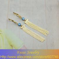 IZE00598 18K Gold Filled Blue Evil Eye tassel earrings 2pcs/lot