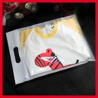 Free Shipping 80pcs/lot 25cm Width *30cm High +5cm Half Clear + Half White Clothes Non-woven Bag Plastic Handle Shopping Bag