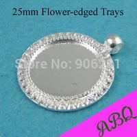 25mm Shiny Silver SunFlower Edged Round Pendant Trays, Round Cameo Setting, Blank Pendant Bezel