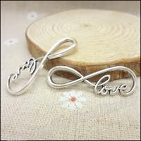 65 pcs Charms love Connector Pendant  Tibetan silver  Zinc Alloy Fit Bracelet Necklace DIY Metal Jewelry Findings