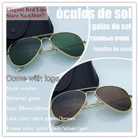 Green Brown Glass Lens Sunglasses Aviator Sun Glasses Men Women  Fashion Glasses G ray Eyewear Gafas Oculos de sol Sunglasses