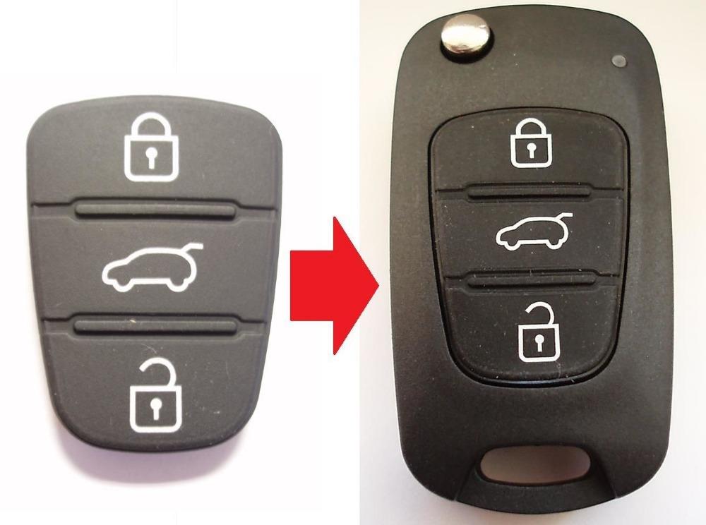 Replacement 3 button rubber pad for Hyundai I10 I20 I30 hyundai flip key , 2PCS/LOT(China (Mainland))