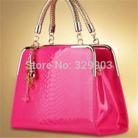 Free Shipping (Rose red )  Candy  casual handbags crocodile embossed shoulder bag  inclined shoulder bag bag