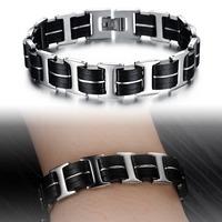 Personality Jewelry 2014 New Double Layer Charm Man Bracelet Handmade Silicone + Steel Bracelet Attractive Men Jewelry 813