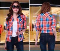 2014 NEW Arrival Women's long-sleeved Plus Size(M-XXL) 3 colors Turn-down Collar Slim plaid shirt a Korean Style Hotsale