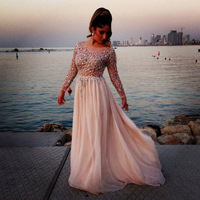 E1250 Elegant top crystal beaded floor length chiffonlong sleeve evening dress 2014