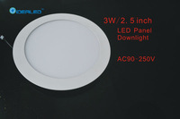 Free shipping 3W Led panel light 10 pieces / lot New Ultra thin design Downlight AC90-265V