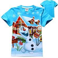 new 2014 summer fashion cartoon Frozen children t shirt unisex baby & kids boys girls t-shirt tops tees