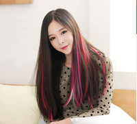 "16 Colors 1PC 2013 New Arrival 24"" Long Solid Colored Colorful Clip On In Hair Extension Hightlight  Free Shipping"