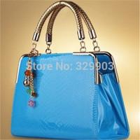 Free Shipping ( blue)  economical Candy  handbags with interlayer bag Embossed design   shoulder bag  inclined shoulder bag bag