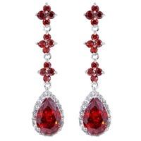 Fashion Ablaze Dangle Multicolor CZ Zircon Diamante Crystal Chain Drop Dangle Earrings Gift Partties Lady