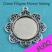 25mm Antique Silver Filigree FlowerRound Pendant Trays, Round Cameo Setting, Blank Pendant Bezel