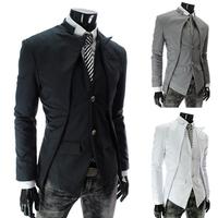 OT! 2014 top brand fashion men's suit jacket Slim asymmetrical design tuxedo jacket 3 color Business Suit size:M.L.XL.XXL