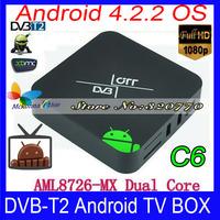 VIGICA C6 DVB-T2 TV BOX 8G ROM Android 4.2 MIni Pc Multiple PLP Receiver Dual Core Amlogic AML8726-MX Support HDMI AV 3D 3G XBMC