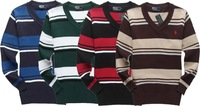 2014 explosion models, free shipping, men's V-neck pullover sweater stripes, embroidery LOGO, good quality, popular models