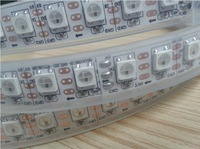 5m DC5V WS2812B led pixel srip,waterproof in silicon tube,96pcs WS2812B/M with 96pixels;WHITE PCB,only 4PIN