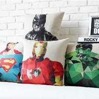 Free Shipping Superman Batman Green Giant American Captain Iron Man The Thor Anime Cotton And Linen Pillowcase Cushion cover