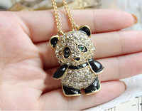 X025 free shipping 2014 new Arrival Fashion Panda With Rhinestone Necklace Sweater Chain  jewelry accessories wholesale gift