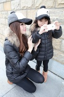 2014 Winter New Arrival Mother and daughter real raccoon fur collar outerwear cotton-padded Down Jacket