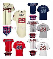 Cheap 2014 Men's Baseball Jersey Atlanta Braves #29 John Smoltz Baseball Jersey,Embroidery Logos,Size 48-56